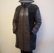 Женское, зимнее, кожаное пальто с натуральным мехом ягненка.
